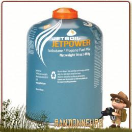 Cartouche  JETBOIL de Gaz JETPOWER 450g mélange de gaz composé de isobutane, propane et butane pour réchaud jetboil