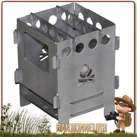 Réchaud bois pliant Bushbox Titane Bushcraft Essentials
