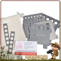 Réchaud bois BushBox de Bushcraft Essentials, réchaud titane ultra léger, multi combustibles (160 g) ultra compact