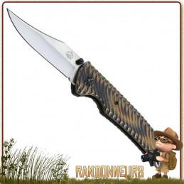 Couteau pliant de survie lame 7.5 cm acier D2 (non inox) à cran intérieur et bouton double pour ouverture rapide puma tec