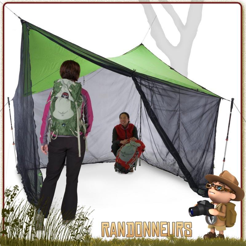 abri Tarp Bushcraft Bugout Screen Room Nemo, protégé de la pluie, du soleil et des moustiques en bivouac bushcraft jungle