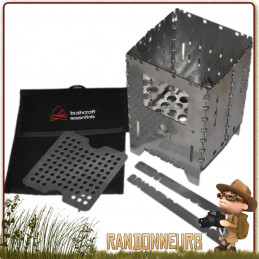 Réchaud bois Bushbox XL Combination Kit Bushcraft Essentials multi combustibles (850 g) ultra compact