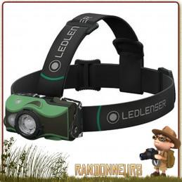 lampe frontale Led Lenser MH8 Rechargeable Verte puissante 600 lumens associée à une portée de 200 mètres