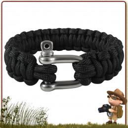 Bracelet survie Paracorde 300 cm avec manille