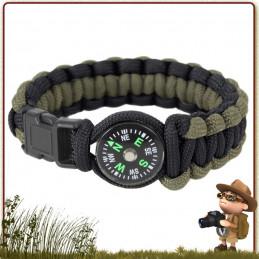 Bracelet Paracord randonnée survie VERT et NOIR avec boussole Rothco