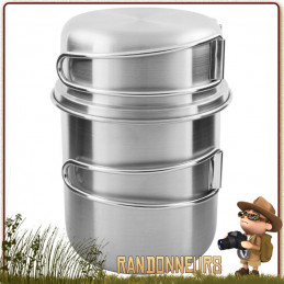 Set Handle Pot Inox 600 ml Tatonka cuisson feu de bois bushcraft