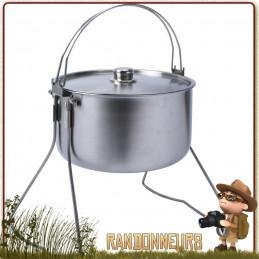 Tribal Pot 10L Inox Origins Outdoor la cuisson famille sur feu de bois camp bivouac bushcraft