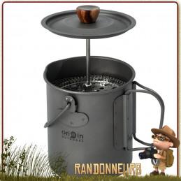 Cafetière Pot French Press 3 en 1 Origin Outdoor, presse café, pot et tasse en titane bivouac bushcraft léger