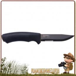 Couteau Mora Bushcraft SRT lame inox mixte 109 mm traitement DLC noir