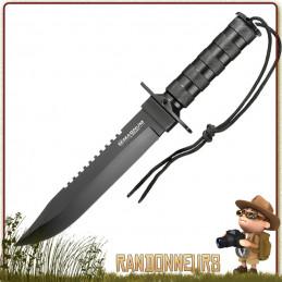Poignard Survivalist Boker, couteau avec kit de survie complet pour la jungle et randonnée bushcraft extrême