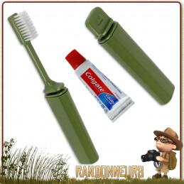 Brosse à dents démontable avec dentifrice et boite de rangement. Parfait pour l\'hygiène en randonnée légère et voyage