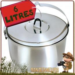 casserole en acier Inoxydable de 6 litres Tatonka idéale pour feu de bois en campement bushcraft nature en groupe