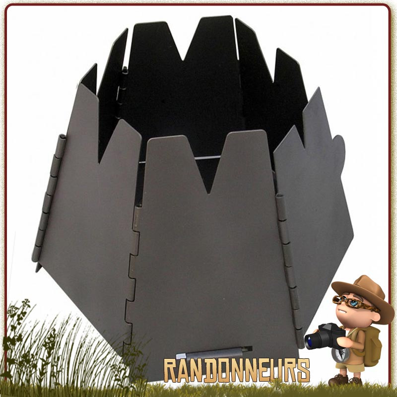 Réchaud à bois Bushcraft , Hexagon acier inoxydable  Vargo, entièrement en inox et pliable pour bivouac léger