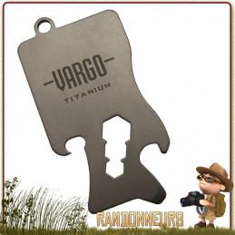 Outil survival tool ultra léger, le porte clés Titane Multi Tool Vargo décapsuleur et ouvre boite ustensile de cuisine camping