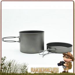 Popote Titane 1600ml Pot Toaks avec poêle pour la randonner léger bivouac  avec couvercle poêle bushcraft trekking