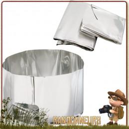 réflecteur de chaleur avec pare-vent MSR permet d'améliorer l'efficacité des réchauds Protège du vent et stabilise le bruleur