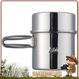 Pot en acier inoxydable Esbit de 1000 ml 100 cl. Robuste et légère, cette popote inox Esbit est compact et robuste en bushcraft