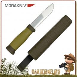 Couteau Morakniv 2000 Vert, couteau de survie bushcraft pour son look forestier et son manche en gomme vert kaki