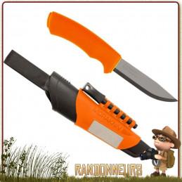 Couteau Survival Bushcraft Morakniv, la qualité d'un couteau Mora avec une lame tranchante inox et pierre à feu firesteel