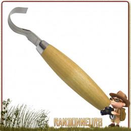 Couteau Mora 162S à sculpter, lame acier inox tranchante incurvée avec manche en bois finition huilée
