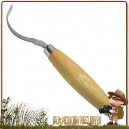 Couteau Mora 163S à sculpter lame demi crochet 7 cm pour creuser des formes arrondies (cuillères/tasses, plat)