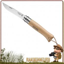 Couteau fermant Opinel Baroudeur 8 VRI manche en bois de hêtre vernis de 11 cm. Lame acier inox sandvik 12C27