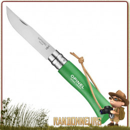 Couteau Opinel 6VRI Baroudeur Vert - Couteau fermant Opinel 6 VRI manche en bois de charme vernis Vert de 9.3 cm