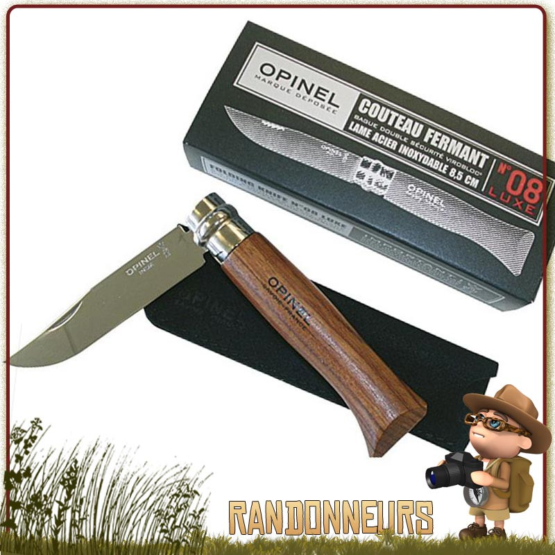 LAME INOX 8.5 CM VIROLE COUTEAU OPINEL LUXE N° 8 MANCHE 11 CM NOYER