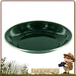 Assiette à soupe de camping tôle acier émaillée VERTE highlander Vaisselle tôle émaillée pour le camping nature originel