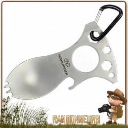 Cuillere acier Inox ultra légère, mousqueton et outils intégrés (Cuillere, Décapsuleur, Tournevis) highlander