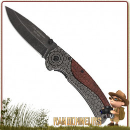 Couteau pliant survie lame 8 cm acier 420 Stonewashed Manche de 12 cm avec clip, insertion bois Pacca acier motif écailles