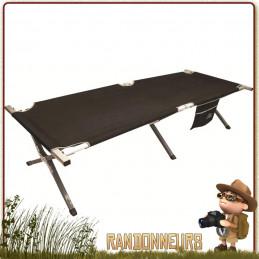 Lit de camp aluminium type picot, lit pliant de camp alu pour le camping, avec poche de rangement latérale